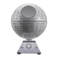 Star Wars Death Star Bluetooth Speaker Features:<br><br><ul><li>Wirelessly stream music from your Bluetooth-enabled phone, iPad, PDA, computer or other device.</li><br><li>Auto-link for fast, easy Bluetooth setup</li><br><li>Internal rechargeable lithium ion battery</li><br><li>2 in 1 USB/3.5 mm audio to micro USB cable included for aux audio and charging the battery from your computer</li><br><li>Plays audio from devices equipped with 3.5 mm headphone jack</li><br><li>Speaker lights up when…