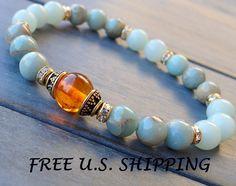 Amber Mala bracelet with Aqua Terra Jasper by LifeForceEnergyShop