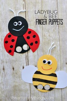 These super cute bee and ladybug finger puppets are perfect for a spring or summer kids craft or when learning about insects. Try making it as a book extension with a favorite children's book like Ladybug Girl and Bumblebee Boy.