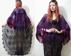 CROCHET Robe FRINGE Kimono Ombre Lace Jacket Long Maxi Tassel Duster Purple Black Scalloped Bohemian Boho Hippie Gypsy Grunge ooak Handmade