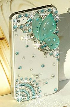 Funda para celular/decorado con mariposa y piedras de cristal