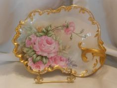 Wonderful T&V Limoges Rococo Handled Tray; Gorgeous Pink Roses