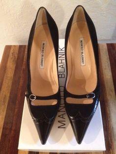 New Gorgeous! Manolo Blahnik Black Mary Jane Patent Shoes Sz 38.5
