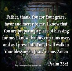 Pray For Gods Grace and Favor.Father, thank You for Your grace, favor and mercy to me. I know that You are preparing a place of blessing for me.
