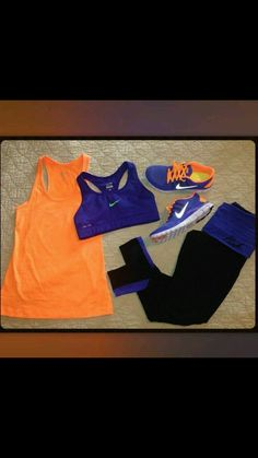 Blue and orange nike workout clothes
