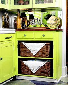 kitchen storage ideas | Taking a perfectly pretty door off of the cabinet was a bit out of my ...