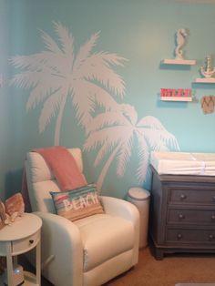 Beach theme nursery with white Palm Tree Decals.