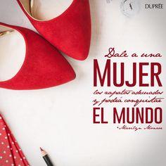 ¡Dale a una mujer los zapatos adecuados y podrá conquistar el mundo! Feliz lunes.. Blessing, Kitten Heels, Shoes, Frases, Happy Monday, Messages, Zapatos, Women, Shoes Outlet