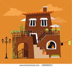 Cartoon house in the traditional Italian or Spanish style, EPS 8 vector illustration, no transparencies