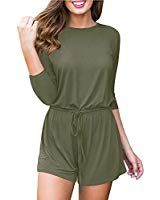 ececbb54f32c For G and PL Women Cotton 3 4 Sleeve Casual Playsuit Solid Color Drawstring  Waist
