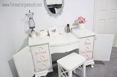 An Organized Dressing Table | via Forever Organised on A Bowl Full of Lemons