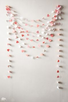 Baby shower, Girl, Paper Garland, 100% RECYCLED HANDMADE PAPER, Shades of Pink Heart Bunting, 21 ft / 6.5 m. $14.00, via Etsy.