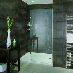 Bathroom Pinspiration. #Black tiles #Wetroom look Aqata Spectra Walk-In Shower Enclosure with Return Panel