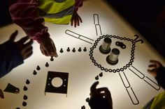 using hardware on the light table- at Gold Mine-a creative reuse center