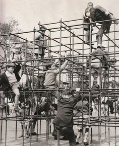 Monkey Bars- where you really learned to hold on. If you fell, you hit ten steel bars before you landed on the concrete below.