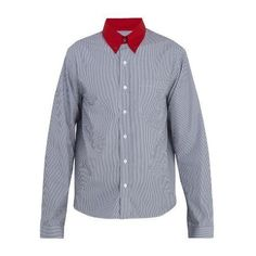 Prada Contrast point-collar striped cotton shirt (€560) ❤ liked on Polyvore  featuring men's fashion, men's clothing, men's shirts, men's dress shirts,  grey ...