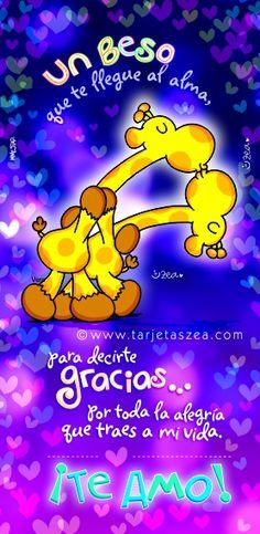Jirafa vera bailando y dando un beso a su pareja © ZEA www.tarjetaszea.com
