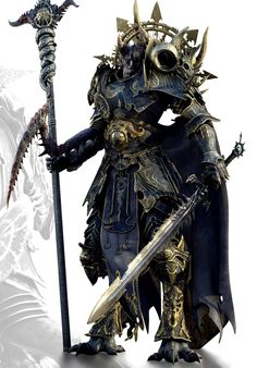 This reminds me of a Malo Clan warrior - a race of giants who descended from slaves - in Dragons Ream by Tessa Dawn (coming 2015). Source: Chaos warrior/sorceror - dark blue