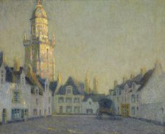 Henri Le Sidaner. The Square, Le Croisic, 1924