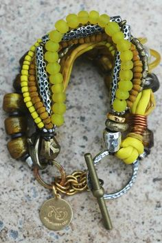 Mixed Media Yellow Glass, Silk and Exotic Metals Multi-Strand Bracelet