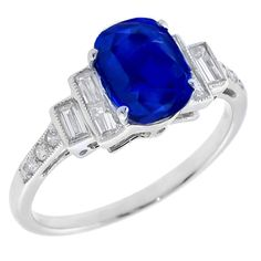 2.87ct Cushion Cut Sapphire 0.43ct Round & Baguette Diamond 18k White Gold Engagement Ring - See more at: http://www.newyorkestatejewelry.com/rings/gia-certfied-2.87ct-natural---sapphire-0.43ct-diamond-gold-engagement-ring/22194/1/item#sthash.ZTzLbwfs.dpuf