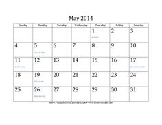 May 2014 Calendar free to download and print