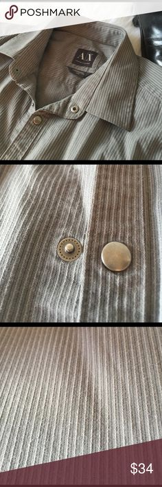 ✨ Armani Exchange Snap Button Dress Shirt ✨ Gorgeous material, absolutely no signs of wear, Metal snaps, no buttons; very unique. 55% cotton, 40% nylon, 5% spandex. Open to offers! A/X Armani Exchange Shirts Dress Shirts