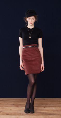 Monica · Cropped Crow Neck  Lorraine · Corduroy Pencil Skirt  Betina Lou Fall-Wintetr 2012-13