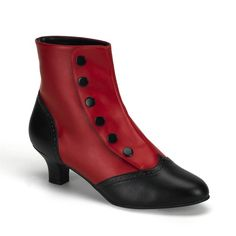 """Bordello Flora 1023 2"""" Block Heel Two Tone button up Ankle Boot - Retro, Period and Costume - Womens' Shoes & Boots"""