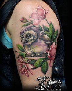 Owl and flowers tattoo by Sanna Angervaniva @ La Muerte Ink