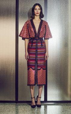 Sequin-Trimmed Fringed Cotton-Blend Midi Skirt by Costarellos Model Dress Batik, Batik Dress, Kimono Dress, Silk Dress, Filipiniana Dress, Thai Traditional Dress, Batik Fashion, Thai Dress, Mode Hijab