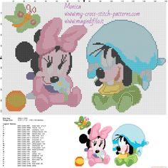 Minnie y Goofy patrón punto de cruz