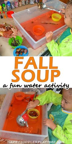 Fall Soup Sensory Play Idea - HAPPY TODDLER PLAYTIME - - This is a quick and easy natural Fall sensory bin that is a great way to cap off a nature walk this fall with your toddler or preschooler! Fall Arts And Crafts, Easy Fall Crafts, Fall Crafts For Kids, Fall Toddler Crafts, Fall Crafts For Preschoolers, Fall Sensory Bin, Sensory Bins, Sensory Play, Sensory Table