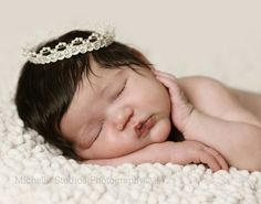 newborn photography prop-newborn ivory cream lace halo prince princess crown-baby shower gift-infant photo prop. $8.99, via Etsy.