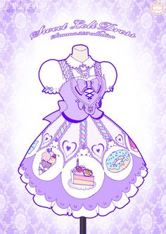 Western Lolita by Neko-Vi on DeviantArt Dress Drawing, Drawing Clothes, Drawing Stuff, Candy Dress, Anime Dress, Anime Costumes, Clothes Pictures, Anime Outfits, Character Outfits