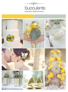Succulent wedding inspiration board, yellow and green ideas via Weddings Illustrated. These were the flowers from my prom corsage Wedding Themes, Wedding Colors, Wedding Flowers, Wedding Decorations, Wedding Ideas, Decor Wedding, Chic Wedding, Yellow Wedding, Summer Wedding