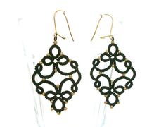 Black and gold tatted earrings by SOLObyME on Etsy, $15.00