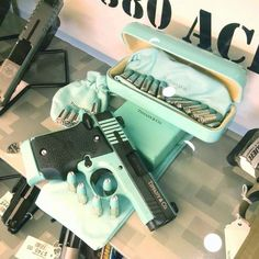Sig Sauer Tiffany & Co. blue with engraving and diamond sight and bullet tips Kinda girly.