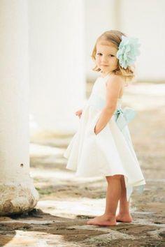 ivory flower girl dress mint flower coral beach summer wedding