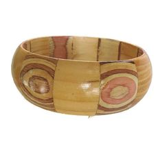 This is a colorful Laminated Wood Bangle Bracelet #Vintage Fun!  This bracelet has a great look with its laminated sections and colorful ovals and stripes.  Really a work of... #vintage #jewelry #vogueteam #ecochic ➡️ http://jto.li/DZbVT