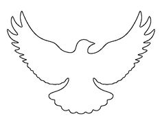 Flying dove pattern. Use the printable outline for crafts, creating stencils, scrapbooking, and more. Free PDF template to download and print at http://patternuniverse.com/download/flying-dove-pattern/