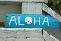 Aloha Painted Driftwood Beach Sign with Sand by KaiHinaCoastal, $25.00