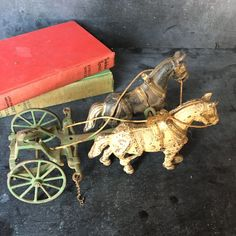 Antique horse drawn toy~ cast iron painted vintage early 1900s from MilkweedVintageHome by MilkweedVintageHome on Etsy