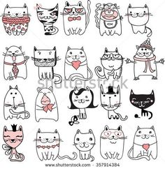 Find Set 20 Vector Doodle Cute Cats stock images in HD and millions of other royalty-free stock photos, illustrations and vectors in the Shutterstock collection. Thousands of new, high-quality pictures added every day. Gato Doodle, Doodle Art, Happy Cartoon, Cartoon Kids, Diy Kawaii, Animal Doodles, Simple Doodles, Cat Drawing, Cute Baby Animals