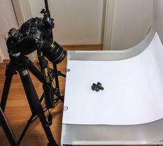 Aufbau meines Sets zur Produktfotografie kleiner Mineralsteine im Detail