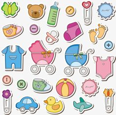 Illustration of Baby Accessories Clip Art vector art, clipart and stock vectors. Dibujos Baby Shower, Baby Shower Clipart, Scrapbook Bebe, Scrapbook Designs, Moldes Para Baby Shower, Baby Monthly Milestones, Baby Icon, Baby Frame, Baby Drawing