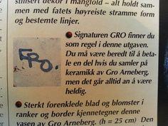 Gro Arneberg -Norge Pottery Marks, Scandinavian, Initials, Symbols, Ceramics, Ceramica, Pottery, Ceramic Art, Porcelain