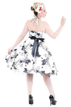 9af0c9019d699 White 50 s Rockabilly Dress with Black Floral Print Grease Outfits