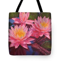 """Water Lilies 3 Tote Bag 18"""" x 18"""" and other sizes, from an oil painting by Fiona Craig www.fionacraig.com . Wall prints, duvet covers and throw pillows also available (the FAA watermark is NOT on the actual products)."""