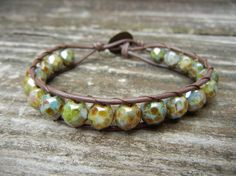 Turquoise Picasso Beaded Leather Fall Bracelet